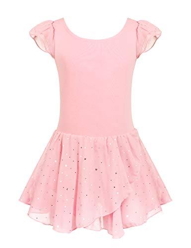 Arshiner Girls Ruffle Sleeve Ballet Dance Dress Tutu Skirted Leotard, 6-7 Years, Ballet Pink New Hampshire