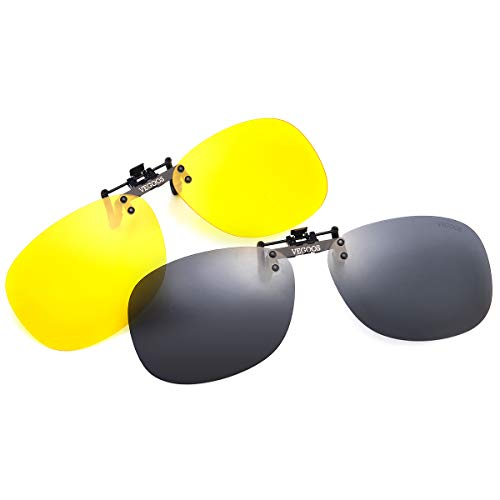 VEGOOS クリップサングラス 跳ね上げ式 UV400 紫外線カット 偏光サングラス 車 スポーツ 釣り ドライブ 運転 男女兼用 メガネの上からサングラス (昼夜セット, 59*36mm)