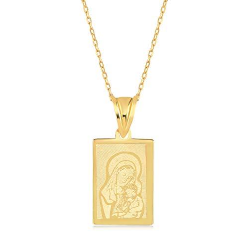 Gelin - Collar para mujer de oro amarillo 585 de 14 quilates, con colgante de la Virgen María, con el niño Jesús, longitud de la cadena de 45 cm