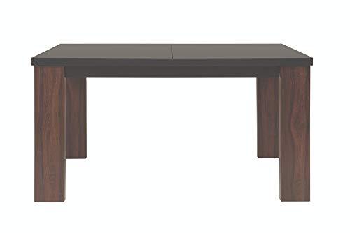 Mesa rectangular extensible para cocina, comedor, sala de estar, alhambra/negro mate, 90 x 76 x 140 – 180 cm