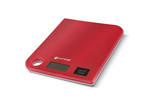 Grunkel - BCC-G5 - Báscula de Cocina Digital con precisión de 1g. Indicador de sobrepeso y función Tara - Peso máximo 5 kg - Rojo, Plástico