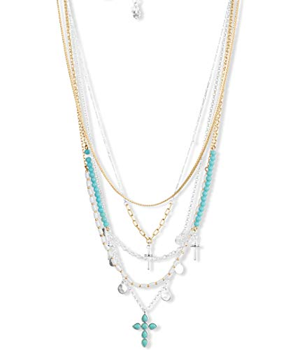 Lucky Brand Cross Statement Necklace, Two Tone, One Size (JWEL5432)