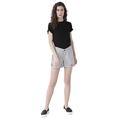 109 F Women Polycotton Stripe Shorts with Floral Embroidery Size...