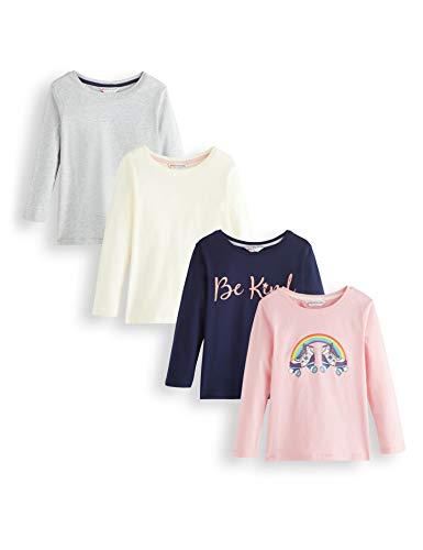 Amazon-Marke: RED WAGON Mädchen Langarmshirt Graphic, Mehrfarbig (Grau,weiß,Blau,rosa), 104, Label:4 Years