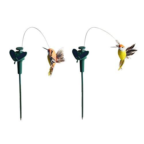 MagiDeal 2 Stück Tanzender Vogel Kolibri Solarstecker der Hingucker auf Ihrer Terrasse/Blumenbeet/Garten/Balkon/Blumenkopf