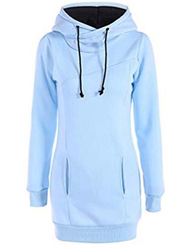 Damen Hoodie Sweatshirt,Dasongff Frauen Kapuzenpullover Mit hohem Kragen Feste Sweatshirt Pullover Tops Slim Fit Pulloverkleid (M, Hellblau)
