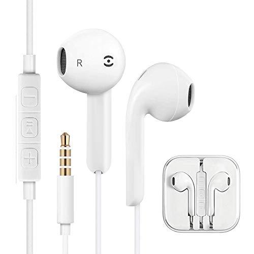 In Ear Kopfhörer, 2 Stück In Ear Ohrhörer, Headsets Earphones Ear Kopfhörer mit Mikrofon kompatibel mit alle 3,5mm Klinkenstecker Smartphone und MP3 Player