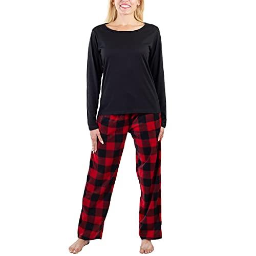 Jo & Bette Women's Pajama Set, Long Sleeve Sleepwear 2pc Set Fleece Pants Cotton Top Loungewear For Women