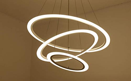 Modern Luster Contemporary Design 3 Circles Adjustable Acrylic Ceiling Light for Office Dining Room Bedroom Living Room [Energy Efficiency Cla