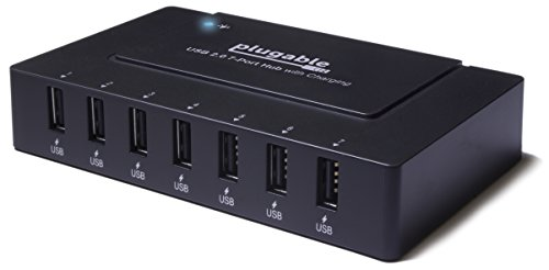 Plugable USB 2.0 7-Port High Speed Charging Hub with 60W Power Adapter.
