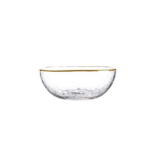 WEIJIAMY Vajilla Cuenco de Ensalada de Vidrio Cuadrado Transparente de Lujo con glóbulo Estilo japonés Estilo Sopa Grande Postre Fruta mezclando Cuenco Esenciales de Cocina (Color : 280ML)