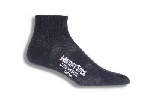 Wrightsock Coolmesh II Quarter Running Socks - 2 Pack, Black, Large