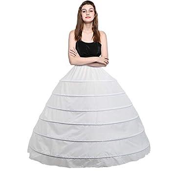 Besteamer Women s 6 Hoops Petticoat Skirt for Party Wedding Crinoline Slip Underskirt White