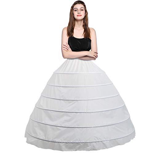 Besteamer Women's 6 Hoops Petticoat Skirt for Party Wedding Crinoline Slip Underskirt White