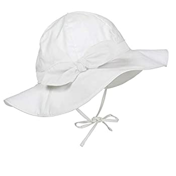 Durio Baby Girl Sun Hat Baby Girl Gifts Cute Bowknot Summer Baby Girl Hat Toddler Girl Hat UPF 50+ Toddler Girl Sun Hat Ivory White Bowknot 6-12 Months