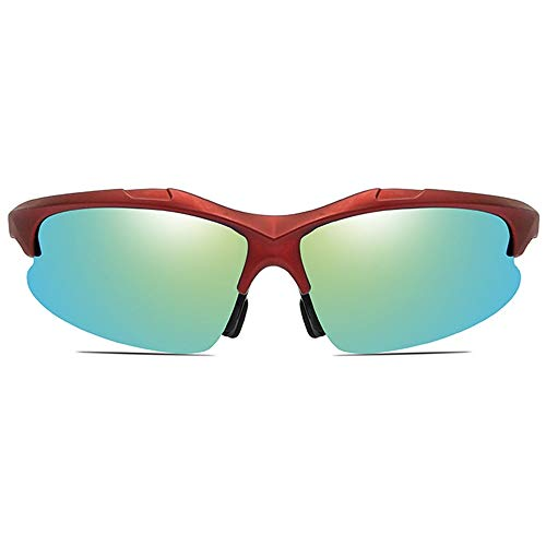 MGWA Gafas de Sol Ciclismo Deportivo Antideslumbrante PC Material Gafas De Sol Marco Rojo Azul Marino/Amarillo Lente Verde Hombres Y Mujeres con Las Mismas Gafas De Sol Polarizadas.