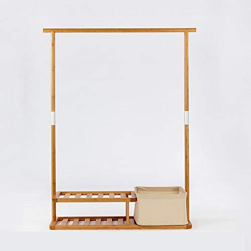 Idebris Multifunctionele bamboe veranda kapstok slaapkamer vloer opslag rek woonkamer opslag rek met vuile kleding mand