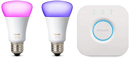 Philips Hue White and Color Ambiance Starter Kit con 2 Lampadine Smart Attacco E27 e un Bridge Hue per il Controllo del Sistema