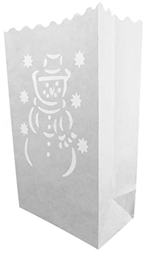CleverDelights White Luminary Bags - 30 Count - Snowman Design - Flame Resistant Paper - Christmas Holiday Outdoor Decorations - Party and Event Decor - Luminaria Candle Bag - Thirty Bags
