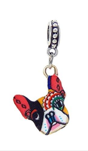 J&M Dangle Enamel French Bulldog Charm Bead for Charms Bracelets