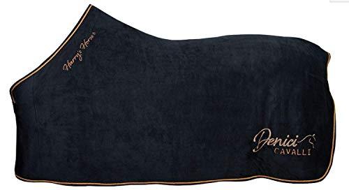 netproshop Abschwitzdecke Fleecedecke Plüsch Dunkelblau mit Stickerei Shetty/Pony/Cob, Groesse:155