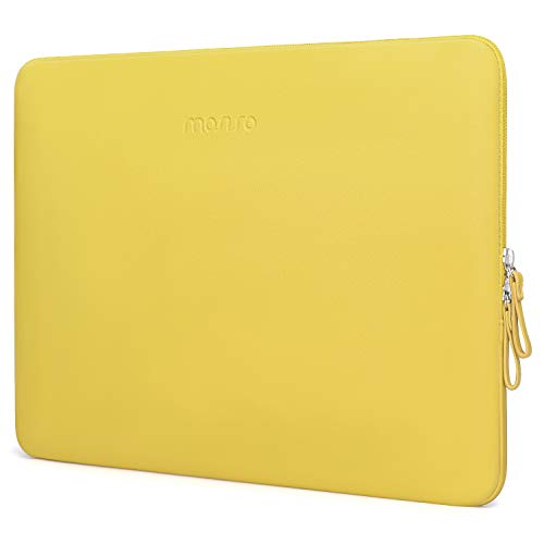 MOSISO Laptop Sleeve Compatible with MacBook Air 13 inch A2337 M1 A2179 A1932, 13 inch MacBook Pro A2338 M1 A2289 A2251 A2159 A1989 A1706 A1708, PU Leather Padded Bag Waterproof Case, Yellow