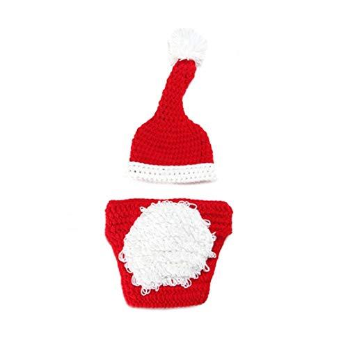 Nicetruc Neugeborenes Baby-weihnachtskostüm Weihnachts Gestrickte Häkeln Fotografie Props Festival Verkleidung Weihnachten Hosen Hut Socken Baby-kostüm-Ausstattungs-Set