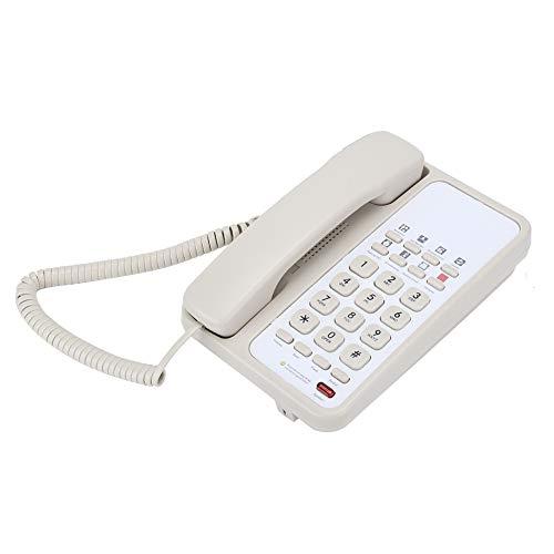 Teléfono con cable, teléfono fijo multifunción de escritorio con línea telefónica para escritorio de oficina, hotel en casa(blanco)