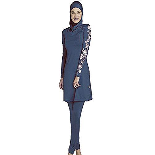 Ziyimaoyi Dezente muslimische Bademode für Frauen und Mädchen, Schwimmanzug (Hijab/Burkini), damen, marineblau, Large