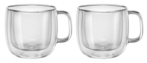 Zwilling 39500-113 x Thermobecher, 450 ml Schwarz, glas, 200 milliliters, Farblos