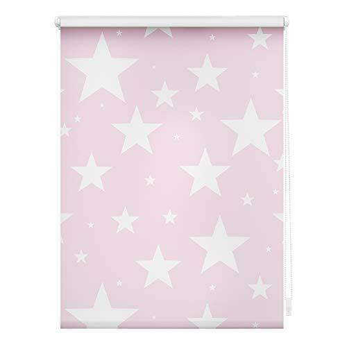 Lichtblick KRV.060.150.382 Rollo Klemmfix, ohne Bohren, Verdunkelung, Sterne Rosa, 60 x 150 cm (B x L)