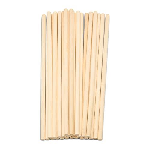 Dowel Rods Wood Sticks Wooden Dowel Rods – 3/8 x 12 Inch Unfinished Hardwood Sticks