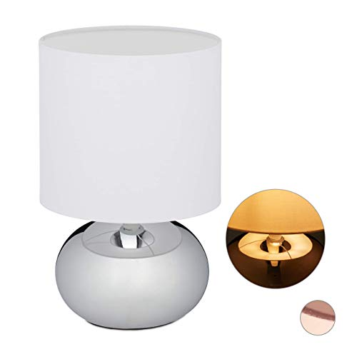 Relaxdays Nachttischlampe Touch dimmbar, moderne Touch Lampe mit 3 Stufen, E14, Tischlampe mit Kabel, 28 x 18 cm, silber