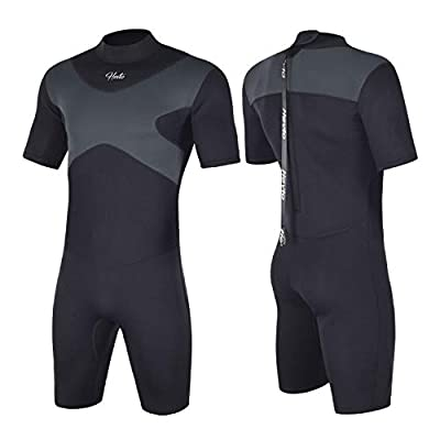 Hevto Shorty Wetsuits X Men 3mm Neoprene Scuba Diving Suits Surfing Swimming Short Sleeve Back Zip (X-Men Gray, XL2)