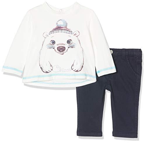 Chicco Completo T-Shirt con Pantaloni Lunghi Conjunto de Ropa, Azul (BLU Scuro 088), 52 (Talla del Fabricante: 056) para Bebés