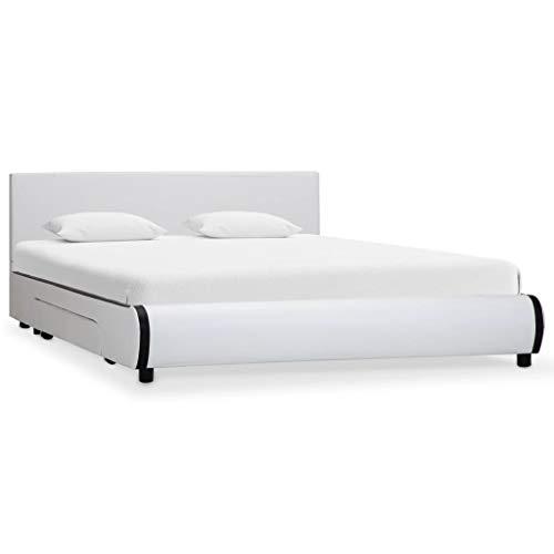 vidaXL Bedframe met Lades Kunstleer Wit 140x200 Ledikant Slaapmeubel Bed Frame