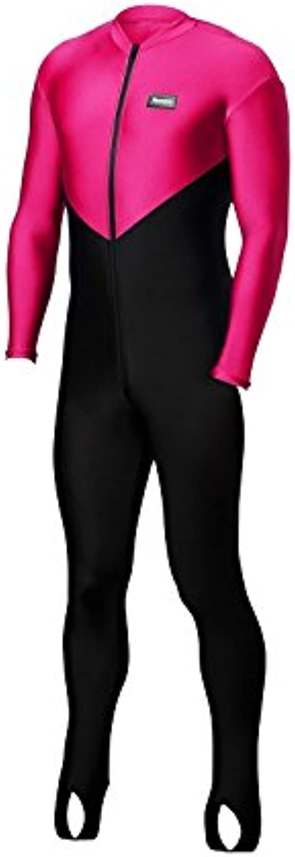 Aeroskin Nylon Lycra Full Body Suit (Black Torso with color Accent) (Black Hot Pink, Medium)
