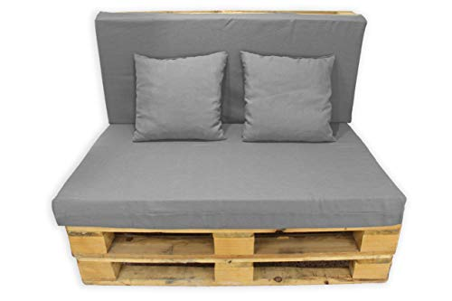 Conjunto 4 Piezas Sofá de Palets, Asiento Palet 120x80 cm + Respaldo + Dos Cojines. Cómodo y Elegante para Interior y Exterior. (Gris, Lisos)