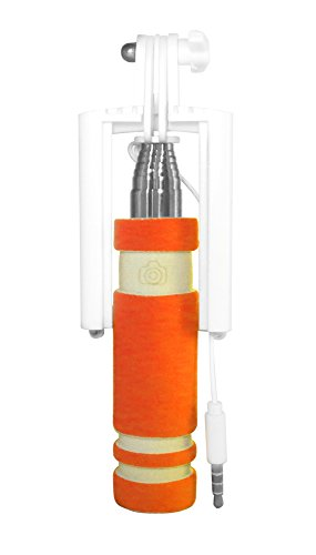 Bijoux bij-selfie-or stang voor selfie uittrekbaar en zakmes 11 cm tot 48 cm, oranje