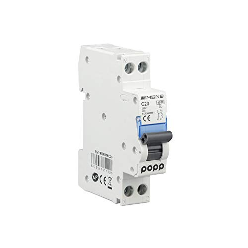POPP Interruptor Automático Magnetotérmico industrial CURVA C DPN SERIE MSN81NC 6A 10A 16A 20A 25A 32A 40A (DPN, 20A)