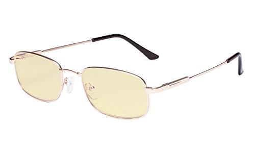 Eyekepper gafas de ordenador hombres mujeres-luz azul bloqueo de lectura de gafas-lectores de memoria Titamiun, Oro +2.25