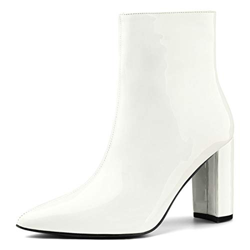 Allegra K Women's Chunky Heel Pointed Toe Zip White Ankle Boots - 7 M US