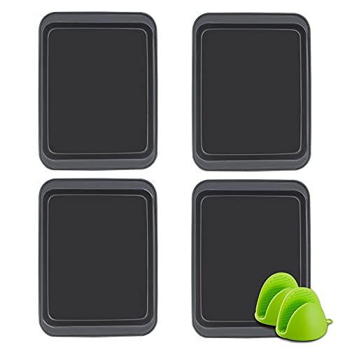 4 Piece Bakeware Non-Stick Cookie Baking Sheets Set for oven Nonstick ,Professional Quality Kitchen Cooking Non-Stick Bake Trays and Easy Clean(Black 10inch)