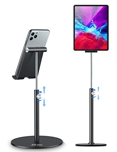 AICase Tablet/ipad Stand, Universal Adjustable Aluminum Desktop Stand, for New iPad 2018 Pro 10.5/9.7/12.9, Air mini 2 3 4, Samsung Tab, Other Smartphones and Tablets (4-12.9 inch) - Black