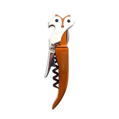 CKB LTD® - Apribottiglie a tema volpe, professionale, cavatappi per camerieri, in acciaio inox con manico in silicone nero, design novità
