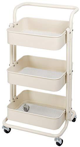 Kingpower Küchentrolley Küchenwagen Rollwagen Servierwagen Metall für Küche Bad Büro 4 Farben, Farbe:Beige
