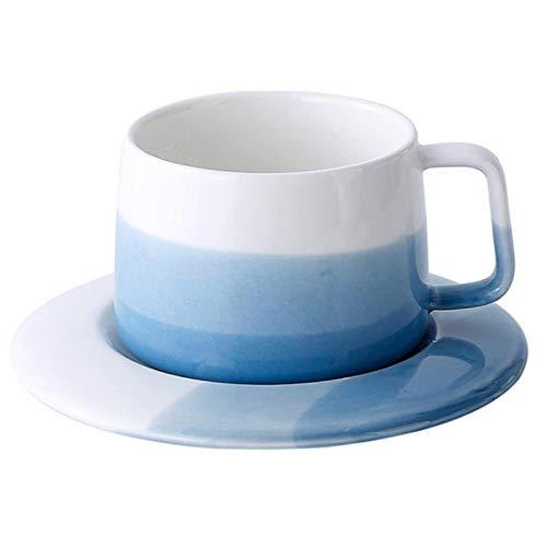 CJHYY Juego de Taza y platillo de café de cerámica Creativo Simple Azul Rosa Hueso Latte Art Tazas de Pareja Regalo Grandes Tazas de Agua de té para el hogar Vasos