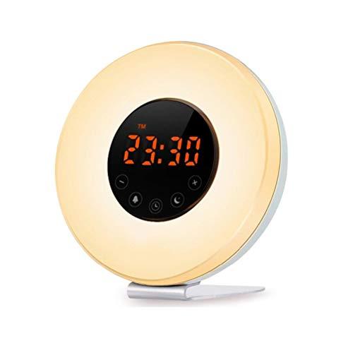 Mini Wake Up Light wekker met lichtsimulatie van zonsopgang/wekker, digitale wekker met snooze-functie en FM-radio, 6 natuurlijke geluiden, 7 kleuren, klassieke sfeerlamp