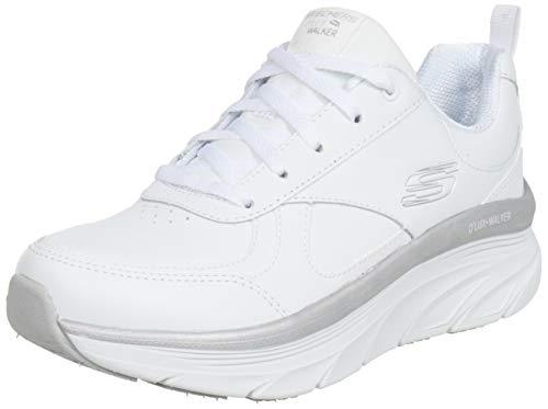 Skechers Damen D'LUX Walker Sneaker, Weißes Leder mit silberfarbenem Rand, 40 EU