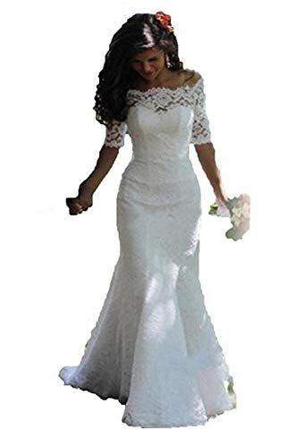 SIQINZHENG Women s Off The Shoulder Lace Wedding Dresses Half Sleeve Mermaid Bridal Gowns White